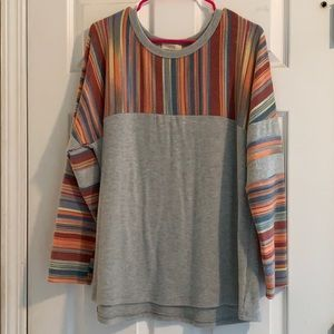 Multicolored striped long sleeve sweater